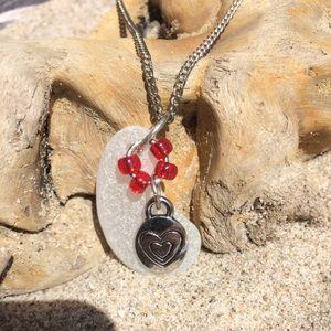 Jewelry - White Genuine Seaglass Bead & Charm Necklace